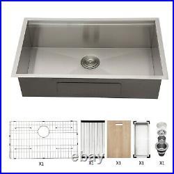 33x19x9 Undermount Kitchen Sink 18 Gauge Stainless Steel Workstation Ledge