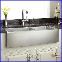 36 Kitchen Sink Farmhouse Apron 16 Gauge Stainless Steel 60/40 Deep Double Bowl