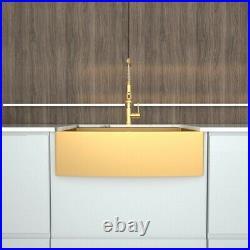 36 inch Matte Gold Kitchen Sink Stainless Steel Apron Sink Farmhouse 16 Gauge