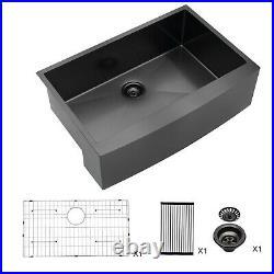 36x21 Farmhouse Kitchen Sink Apron Gunmetal Black 16 Gauge Stainless Steel