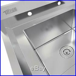 39 Premium 18 Gauge Stainless Steel Sink with Drainboard Heavy Duty Landry Sink
