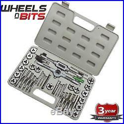 40 pc Tap and Die Set Carbon Steel Wrench T-Handle Die Holder Thread Gauge S1150