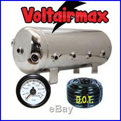 5 Gallon Polished Stainless Steel Air Tank 9 Port AirRide 50' 3/8 Airhose/Gauge