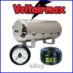 5 Gallon Stainless Steel Polish Air Tank 8 Port Air Ride 150-gauge Voltairmax