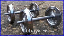 5 gauge Set of 4 3 Hole Disc Wagon Wheels on Axles