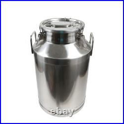 60L Milk Can Pail Heavy-Gauge Stainless Steel Bucket+Silicone Seal Keep Fresh US