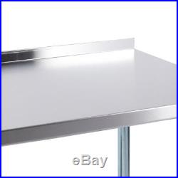 72 x 24 18 Gauge Stainless Steel Kitchen Utility Work Table with Backsplash