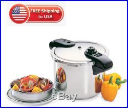 8-Quart Presto Stainless Steel Pressure Cooker Gauge Vegetables Meats Poultry
