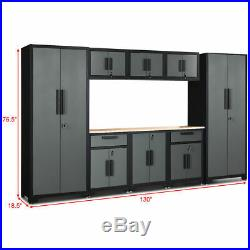 9 Pcs Big Steel Garage Storage Cabinet Set 24 Gauge Rack Shelf with Wooden Worktop