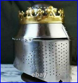 Antique Medieval Helmet 18 Gauge Solid Steel With Taj Helmet Armor Crust Helmet