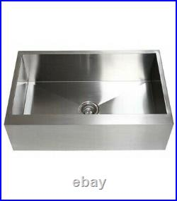 Ariel Stainless Steel Farmhouse Flat Apron Kitchen Sink 33 x 21 16 Gauge