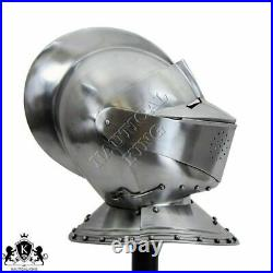 Armor Helmet English Close Helm 18 Gauge Medieval Knight Halloween Costume