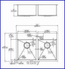 Auric 33 Premium Stainless Steel Top-mount 50/50 Double Bowl Sink 7-Gauge Deck