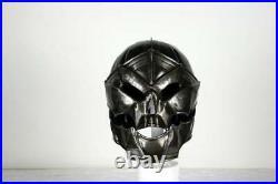 Blackened 18 Gauge Steel Medieval Demonic Face Deathknight Helmet