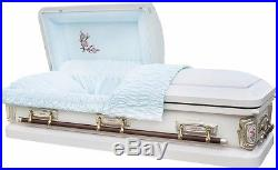 Brand New 18 Gauge Steel Coffin Casket Antique White Shaded Silver Rose Finish