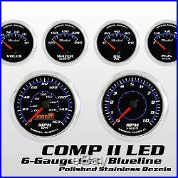 C2 Blueline 6 Gauge Set, Stainless Steel Bezels, 0-90 Ohm Fuel, Cobalt Blue