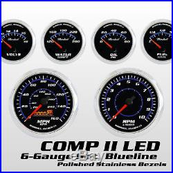 C2 Blueline 6 Gauge Set, Stainless Steel Bezels, 73-10 Ohm Fuel, Cobalt Blue