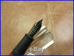 CONKLIN CARBON FIBER WORD GAUGE FOUNTAIN PEN IN ORANGE FINE STEEL NIB NEWithBOX