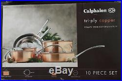 Calphalon Cookware Set Tri-Ply 10-Piece Copper Heavy Gauge Stainless Steel New