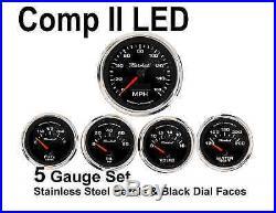 Comp II 2 Sport LED 5-Gauge Auto Gauge Meters Set Black with Stainless Steel USA