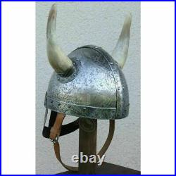 Details about 18 gauge Steel Medieval Knight Fantasy Horned Viking Helmet Hall