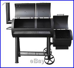Flaming Coals Offset Smoker BBQ Meat Grill, 3-4mm steel, 3 Temperature Gauges