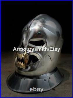Functional 18 Gauge Steel Medieval Old Demonic Face Helmet Battle-ready