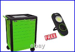 Heavy Gauge Steel Rollcab Toolbox 7 Drawer Push To Open Hi-Vis BRIGHT Green NL21