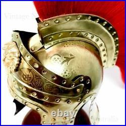 Helmet Roman IMPERIAL Gallic Centurion Helmet Italic Red Plume STEEL 18 Gauge