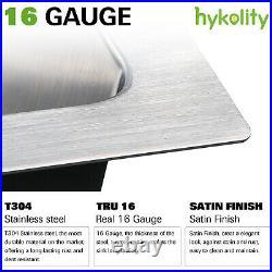 Hykolity 32 inch Kitchen Sink, 16 Gauge Undermount Single Bowl Stainless Steel