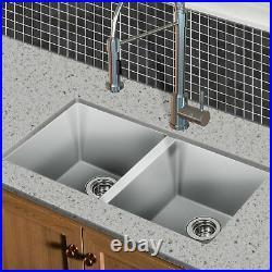 Hykolity 33 in. 50/50 Double Bowl 16 Gauge Undermount Sink Stainless Steel