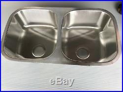 Lot of 2 Kitchen Sink Stainless Steel Double Basin 32 in. Undermount Heavy Gauge