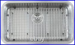 Luxury 16 Gauge Undermount Stainless Steel Kitchen Sink, Strainer, Grid- 30 inch