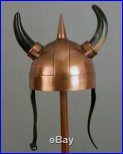 Medieval 18 Gauge Steel Viking Helmet With Two Side Horn Viking Armor Helmet