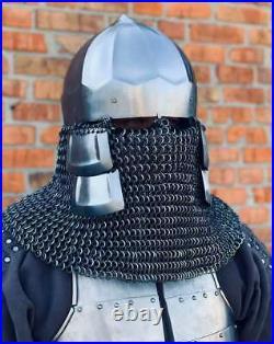 Medieval Armor Helmet 16 Gage Mild Steel Chain Mail Helmet