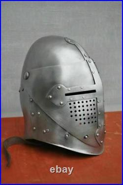 Medieval Armor Helmet 18 Gauge Steel Knight Templar Visor Helmet Halloween Gift