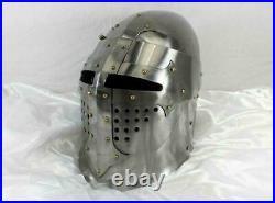 Medieval Bascinet Helmet SCA Jousting Helmet Knight Armor LARP 18 Gauge Steel