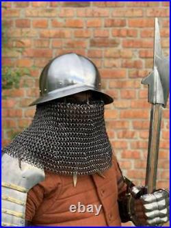 Medieval Kattle Hat Chain Mail Helmet 16 Gage Steel Spanish Helmet Gift Item