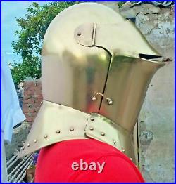 Medieval Knight Armor Helmet Brass Plating Knights Closed helmet 18 Gauge Steel