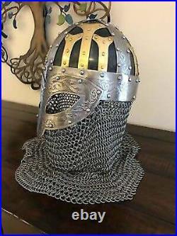 Medieval Viking Helmet Vendal 16 gauge Steel & Brass Helmet With Chain mail Helmet