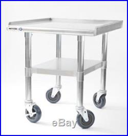 NAKS 24x27 16 Gauge Stainless Steel Equipment Stand with Undershelf and Casters
