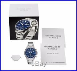 NEW Michael Kors Access Gage Silver Stainless Steel Hybrid Smartwatch MKT4000