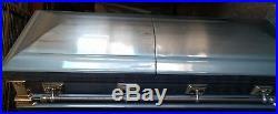 New 18 Gauge Steel Coffin Casket Minor Defects, Good for Halloween or Props