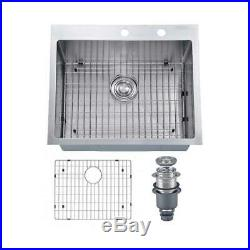 New MOWA HMT-2522 25 x 22 16 Gauge Stainless Steel Single Bowl Kitchen Sink