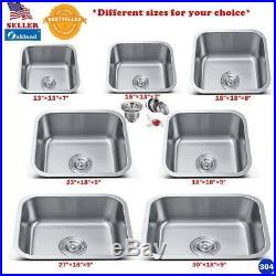 New Stainless Steel Undermount Single Bowl Kitchen/Bar Sink 18Gauge Variety Size