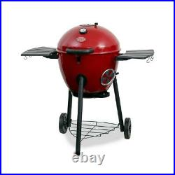 Premium kettle charcoal grill in red outdoor and smoker temperature gauge lid