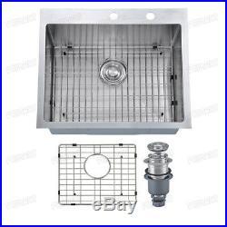 Primart 25X22 inch 16 Gauge Single Bowl Stainless Steel Topmount Kitchen Sinks