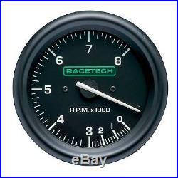 Racetech 80mm Tachometer Gauge 0-10,000 RPM In Black