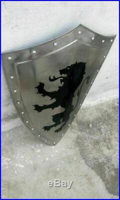 Roman Knight Templar Crusader 18 gauge Medieval Heater Latin Warrior Lion Shield