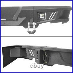 Rugged 9 Gauge Steel Rear Step Bumper with LED Light For 09-18 Dodge Ram 1500